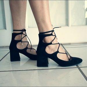 Black lace suede shoes